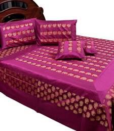 Buy Banarasi Magenta Silk Double Bed Cover and Cushion cover bed-sheet online