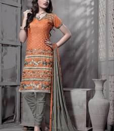 Buy Riti Riwaz orange chanderi dress material with dupatta dress-material online