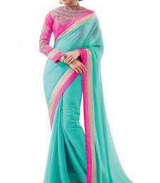 Buy Latest Sky Heavy Blouse Party wear saree supernet-saree online