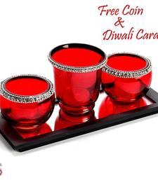 Buy Diwali gifts - Red Glass tea Light Holder diwali-decoration online