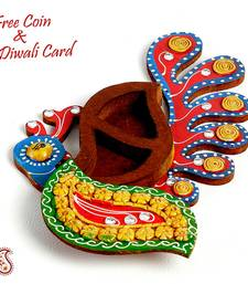 Buy Peacock Design Kumkum Chopra in wood and clay diwali-decoration online
