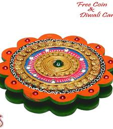 Buy Floral Design Wooden clay work jewelry box with compartments - Diwali decoration diwali-decoration online