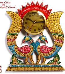 Buy Diwali decoration - Twin Peacock Wall Clock in Rajastani clay and wood craft  diwali-decoration online