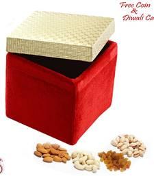 Golden and Red Velvet Dryfruit Gift Box for Diwali shop online