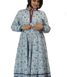 Buy Dorabella Women's Designer Cotton Anarkali [N1155A_Blue] kurtas-and-kurti online