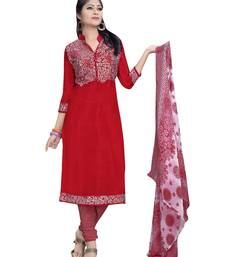 Buy Red printed chiffon salwar with dupatta salwar-kameez-below-300 online
