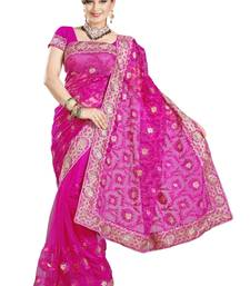 Buy PINK NETT WITH INNER PARTY WERE SAREE WITH BLOUSE net-saree online