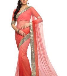 Buy Deep peach Embroidered Net Saree With Blouse (1495) net-saree online