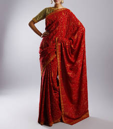 Buy Red fancy crepe saree with full kashmiri hand embroidery without blouse crepe-saree online