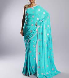 Buy Blue Crepe Sari with full Swaroski work without blouse crepe-saree online