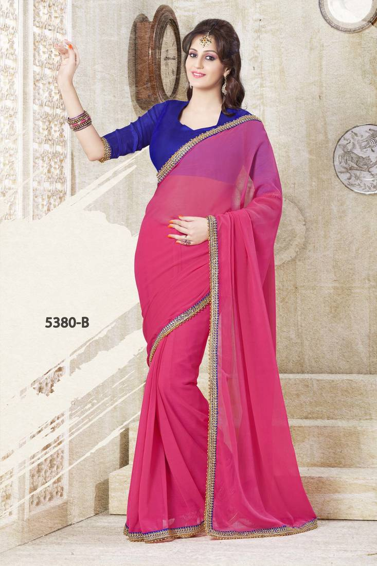 Buy PINK PLAIN SAREE WITH CONTRAST BLOUSE Online