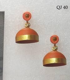 Brick red quilled jhumkas shop online