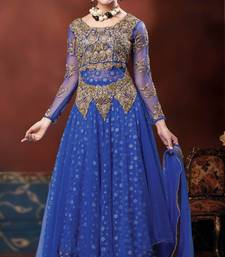 Buy Royal Blue layered anarkali in Net & embroideried net fabric-SL2562-royal blue readymade-suit online