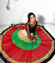 Buy Multi colour net anarkali with high u neck in thread work - SL2670 readymade-suit online