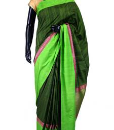 Buy Bottle green banarasi weaved saree in green border & pallu-SR5440 tussar-silk-saree online