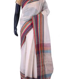 Buy White tussar fabric saree in multi colour pallu & border -SR5446 tussar-silk-saree online