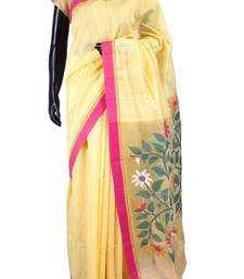 Buy Yellow tussar fabric saree in multi colour weaved pallu & pink border-SR5447 tussar-silk-saree online