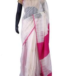 Buy White tussar fabric weaved saree in pink weaved pallu & blouse -SR5459 tussar-silk-saree online