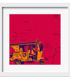 Buy Orange Taxi On Road Art Print wall-art online