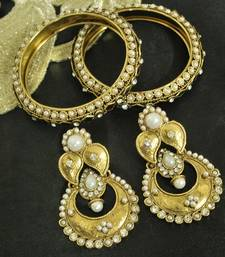Buy Long Pearl Earrings & Gold Plated Kada with Pearl curated-jewelry online