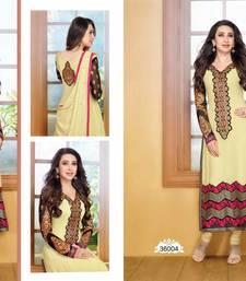 Cream embroidered georgette  Semi Stitch party-wear-salwar-kameez shop online