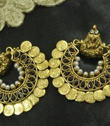 Buy Ram Leela Royal Black colour Coin Earrings hoop online