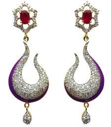 Buy Vatika pink and purple american diamond earring danglers-drop online