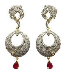 Buy Vatika round shaped and pink drop american diamond earring danglers-drop online