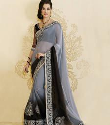 Buy Heritage Grey Chiffon Designer Saree party-wear-saree online
