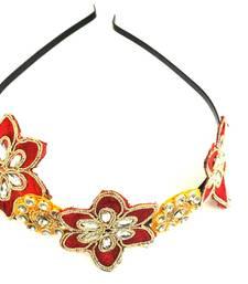 Buy Red and Yellow kundan zari work ethnic  hairband hair-accessory online