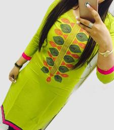 Buy Green embroidered stitched georgette-kurtis georgette-kurti online