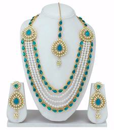 Buy Turquoise and Gold American Diamond Necklace Set With Earrings and Tikka karva-chauth-jewellery online