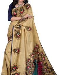 Buy Beige printed art silk saree with blouse hot-deal online