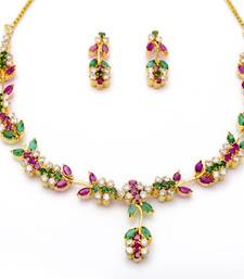 Buy LILY NECKLACE SET WITH EARRINGS (AD RUBY EMRALD) - necklace-set online