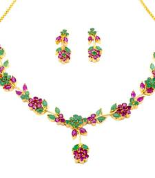 Buy LILY NECKLACE SET WITH EARRINGS (RUBY EMRALD) - necklace-set online