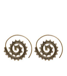 Buy Gold Tirbal Spikes Spiral Earrings hoop online