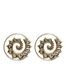 Buy Gold Flora Aura Spiral Earrings hoop online