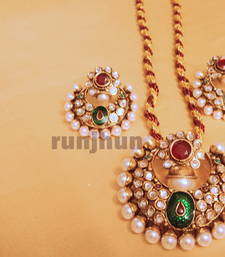 round pearl and polki pendent set with resham dori shop online