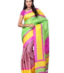 Petra Fab Lime Green  & Yellow & Pink Colored Bhagalpuri Khadi Printed Saree shop online