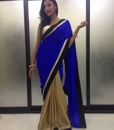 Buy golden crepe Saree unstitched crepe-saree online