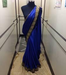 Buy Blue Satin saree satin-saree online