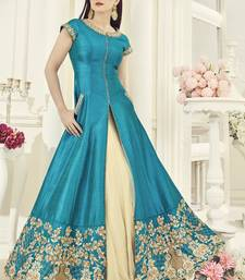 Buy Sky blue embroidered silk salwar wedding-season-sale online