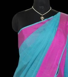 Buy Blue kora cotton saree with blouse cotton-saree online