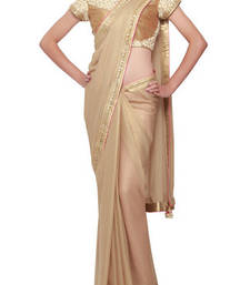 Buy Gold foil saree enhanced in sequence and gotta patti border bridal-saree online