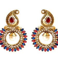 Buy Red Blue Paisely Round Stone Earring danglers-drop online