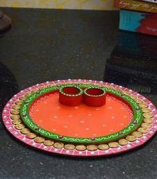 Buy Papier-Mache Radiant Pink and Orange Pooja Thali home-decor online