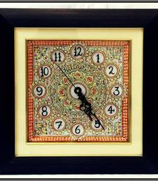 Buy Glorious Orange and Golden colored Marble Wall Clock with LED and Wooden Frame wall-clock online