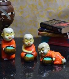 Buy Set of 3 Monks Candle Holder - Orange candle online