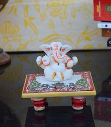 Buy Chaturbhuj Lord Ganesha on Marble Chowki sculpture online
