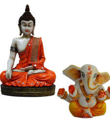 Buy Combo of Meditating Buddha and Lord Ganpati Statue sculpture online